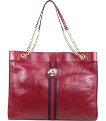 gucci rajah large red leather canvas web tote bag red sz: n
