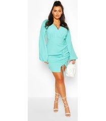 plus plunge balloon sleeve shift dress, turquoise