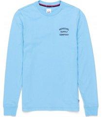 herschel shirt supply co. women's long sleeve tee stack logo alaskan blue peacoat-xs