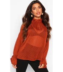 dobby spot cold shoulder high neck top, rust