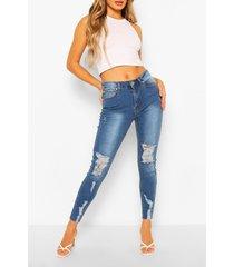 mid rise skinny jeans met versleten zoom, middenblauw