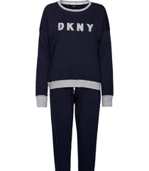 dkny new signature l/s top & jogger pj pyjamas blå dkny homewear