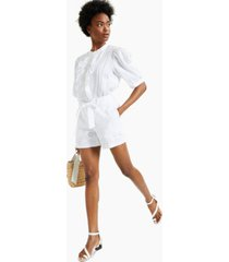 charter club cotton tie-belt eyelet shorts, created for macy's