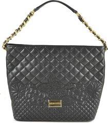 ermanno scervino black quilted eco-leather shoulder bag