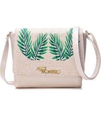 bolsa alice monteiro com tampa bordado folhas - off white - kanui