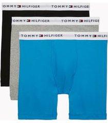 tommy hilfiger men's cotton classics boxer brief 3pk black/grey heather/diva blue - xl