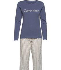 l/s pant set pyjamas multi/mönstrad calvin klein
