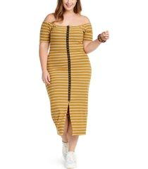 planet gold trendy plus size juniors\' off-the-shoulder dress