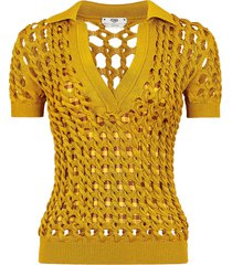 fendi open-knit polo top - yellow