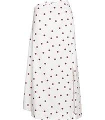 printed cotton poplin knälång kjol ganni