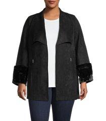 carmen carmen marc valvo women's faux suede & faux fur-trim jacket - soft camel - size 2x (18-20)