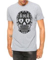 camiseta criativa urbana caveira mexicana cartas tattoo manga curta