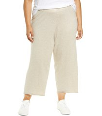 eileen fisher organic cotton crop wide leg pants, size 3x in maple oat at nordstrom