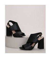 sandal boot feminina via uno salto alto grosso com recortes preta