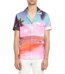 beach-print short-sleeve shirt