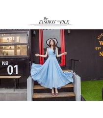 pf253 sexy deep v sleeveless chiffon swing dress  size s-xl, lake blue