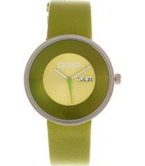 crayo unisex button green genuine leather strap watch 40mm