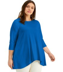 alfani plus size solid swing top, created for macy's