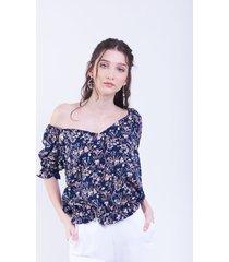 blusa azul donadonna liz floreado