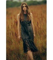vestido de cuero para mujer ruedo flecos