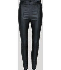 calça legging feminina cintura alta resinada com recortes preta