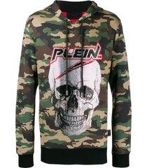 philipp plein rhinestone skull camouflage hoodie - green
