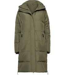 haugland down coat gevoerde lange jas groen skogstad