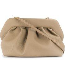 themoirè pleated design clutch bag - neutrals