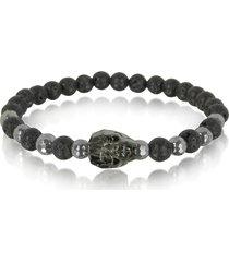 blackbourne designer men's bracelets, lava irregular stone men's bracelet w/gunmetal swarovski crystal skull