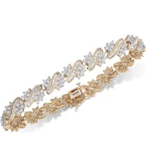 diamond cluster link bracelet (5 ct. t.w.) in 10k gold