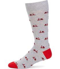 saks fifth avenue men's vespa-print heathered mid-calf socks - medium grey