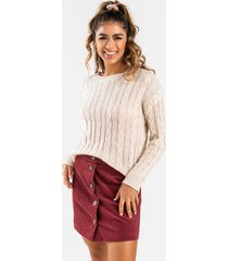 aleena cable knit sweater - natural