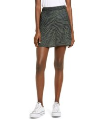 women's bp. print mini skater skirt, size x-small - green