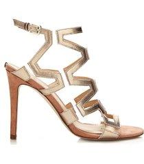 guess sandalo padton effetto metallizzato
