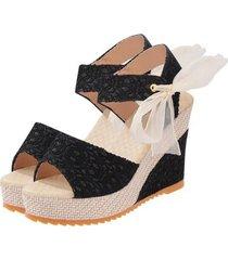 primavera verano mujer sandalias de cabeza de pescado zapato abierto de verano tacones sandalias de cuña