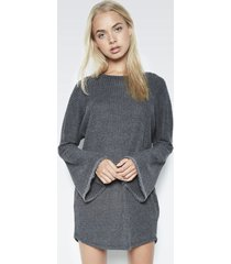 judson oversized sweater dress - s black charcoal waffle