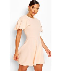 flute sleeve skater dress, nude