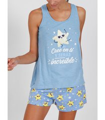 pyjama's / nachthemden admas pyjama korte tank top cree en t1 blauw