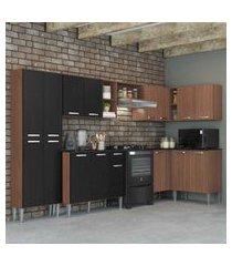 cozinha completa com armário e balcáo com tampo 7 peças pequim soul multimóveis carvalho avelá/preto
