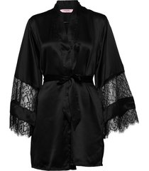 kimono satin insert lace bow morgonrock svart hunkemöller