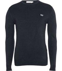 antony morato sweater round collar&plaquette blue ink 7073