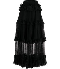 alexander mcqueen sheer panel tiered skirt - black