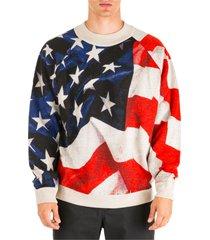 maglione maglia uomo girocollo american flag oversize fit
