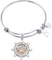 """unwritten """"faith makes all things possible""""anchor bangle bracelet in stainless steel & rose gold-tone with silver plated charms"""
