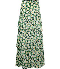 women's afrm sabine tiered maxi skirt, size small - black