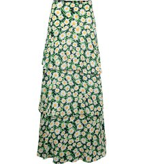 women's afrm sabine tiered maxi skirt, size x-small - black
