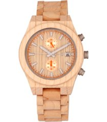 earth wood castillo wood bracelet watch w/date khaki 45mm