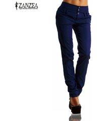 zanzea nueva llegada botones zipper sólido pantalones largos pantalones de las mujeres de otoño de cintura alta pantalones ocasionales delgados de capris del tamaño extra grande azul -azul