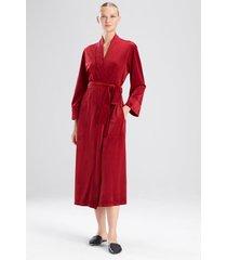 natori plush velour robe, women's, grey, size l natori