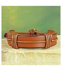 men's leather wristband bracelet, 'enduring strength in tan' (ghana)
